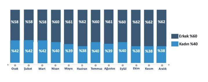 Türkiye Twitter Kullanım İstatistikleri - Cinsiyet Dağlımı