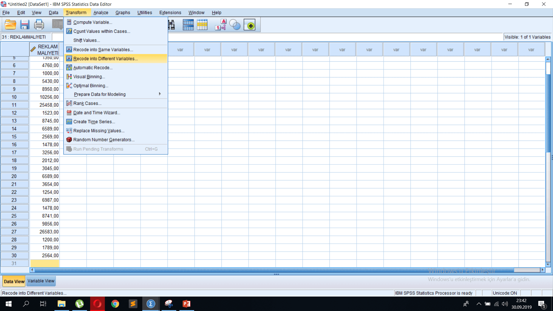 SPSS Veri Analizi - Verileri Belirli Niteliklere Ayırma