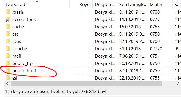 FTP Üzerinden Yedek Alma 2. Adım